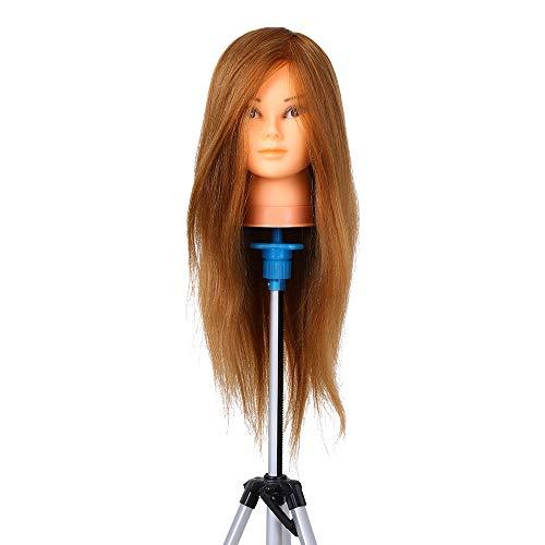 Anself 100% Echthaar Trainingsköpfe für Friseure Übungskopf Friseurkopf Friseursalon Puppenkopf