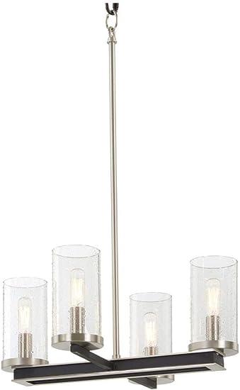 Minka Lavery 1054 691 Cole S Crossing Metal Mesh Seedy Glass Chandelier 4 Light 240 Total Watts 12 H X 18 W Coal W Brushed Nickel Home Improvement