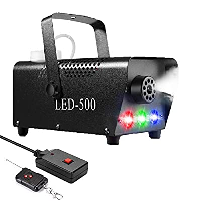 Fog Machine,500W Portable DJ Led Smoke Machine(Red,Green,Blue) with Wireless and Wired Remote Control for Halloween, Christmas, Wedding, Parties, DJ Performance, Stage Show