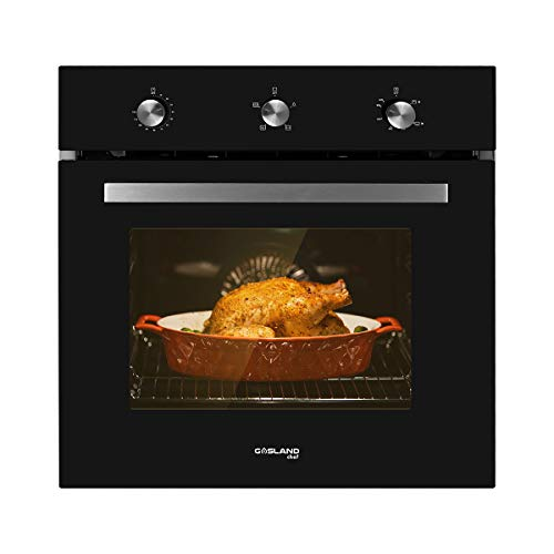 Single Wall Oven, GASLAND Chef GS606MB 24' Built-in Natural Gas Oven, 6 Cooking Functions Convection Gas Wall Oven with Rotisserie, Mechanical Knobs Control, 120V Electric Ignition, Black Glass Finish