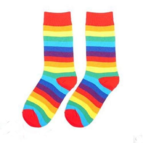 14 PCS = 7 Pares de Calcetines de otoño para Mujer con arcoírisyCalcetines deTubo a Rayas deInvierno paraMujer-a5
