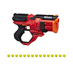 NERF RIVAL ROUNDHOUSE XX-1500 BLASTER WITH CLEAR ROTATING CHAMBER TO SEE THE ROUNDS INSIDE: -The chamber rotates to line up a round into firing position and load another round into the chamber 15-ROUND CAPACITY INTEGRATED MAGAZINES FOR HIGH-CAPACITY ...