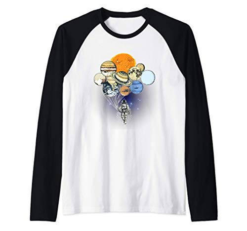 The Spaceman's Trip - Astronaut Outer Space Planets Balloons Camiseta Manga Raglan