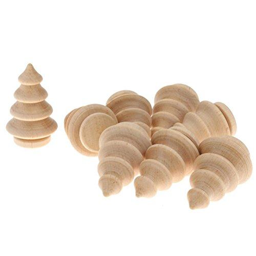 OULII 10pcs blanco árbol de Navidad de madera BRICOLAJE Peg muñecas fiesta torta Toppers decoración de Navidad
