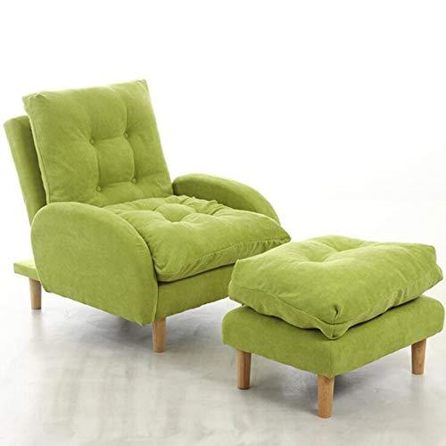 Good KK Silla reclinable para el hogar Sofá Sofá Sofá Sofá con Sillón Nórdico Moderno y Otomano con Pierna De Madera Y Ajustable Ajustable para Dormitorio Sala De Viaje Balcón Balcón Relajante,Verde
