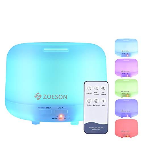 ZOESON Humidificador Ultrasónico, Difusores Humidificadores Aromas de 300ml, Difusor de Aceites Esenciales con Control Remoto, 7 Color LED, 3 Temporizador Hogar, Humificador Oficina