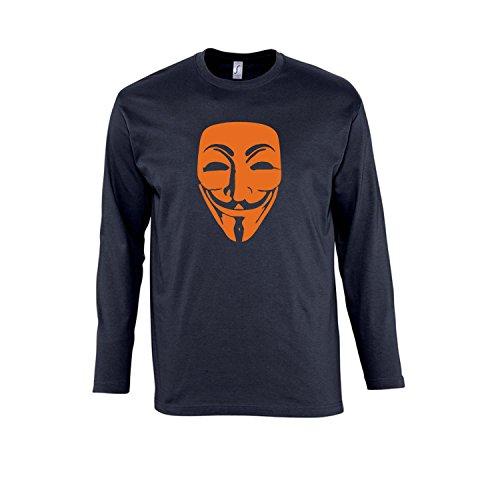 Anonymous Maske, Guy Fawkes, Acta, Vendetta Kult-Shirt - Herren Langarm Longsleeve T-Shirt S-XXL, Navy - orange, XL