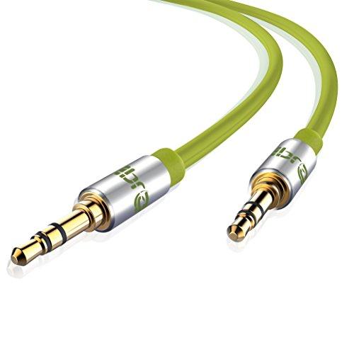 Aux Kabel [ 2m ] - IBRA Stereo Audio Klinkenkabel 2m - 3,5mm Klinken Stecker zu 3,5mm Klinken Stecker - für Kopfhörer,iPod iPad, Heim/KFZ Stereoanlagen, Smartphones, MP3 Player und mehr - grün