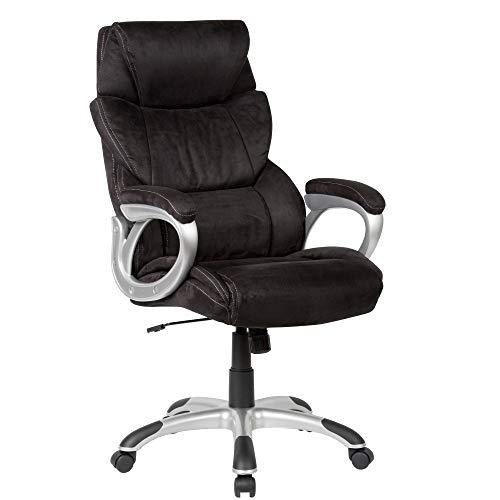 Amstyle Stoel, bekleding, zwart, bureaustoel tot 120 kg, XXL-design, in hoogte verstelbaar, draaistoel met armleuningen en hoge rugleuning