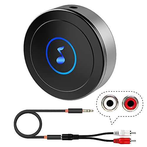 Ricevitore Bluetooth 5.0 per Home Stereo, TV, Tablet, altoparlanti, ecc. con uscita AUX3.5/RCA, bassa latenza/ audio di qualità HD, connessione a doppio dispositivo