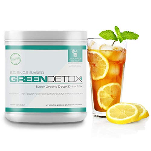 Science Based Green Detox by Six Pack Abs (Lemonade Ice Tea) – Thomas DeLauer Greens Powder with Spirulina Powder – Green Superfood with Milk Thistle – Green Juice Superfood Powder (30 Servings)