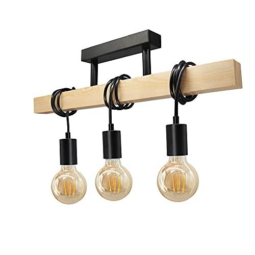 Lámpara de techo de madera de 3 cabezas en retro industrial, lámpara colgante vintage de acero y madera con portalámparas E27