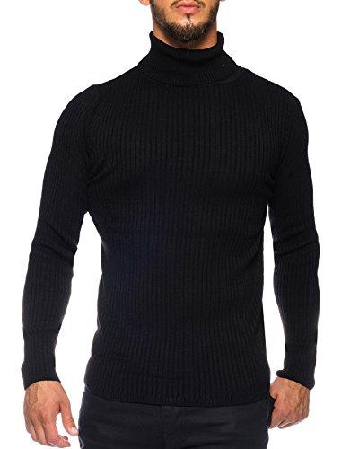 Karl\'s people Herren Feinstrick Rollkragenpullover in verschieden Farben K-107, Größe XL, Farbe Black