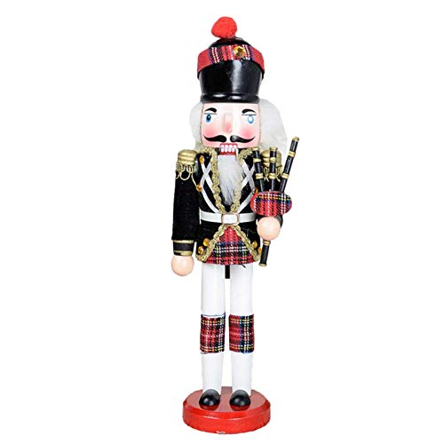 Keppels Scottish Nutcracker Soldiers,30cm Soldier Nutcracker Painted Christmas Decoration with Base(Bagpipe)