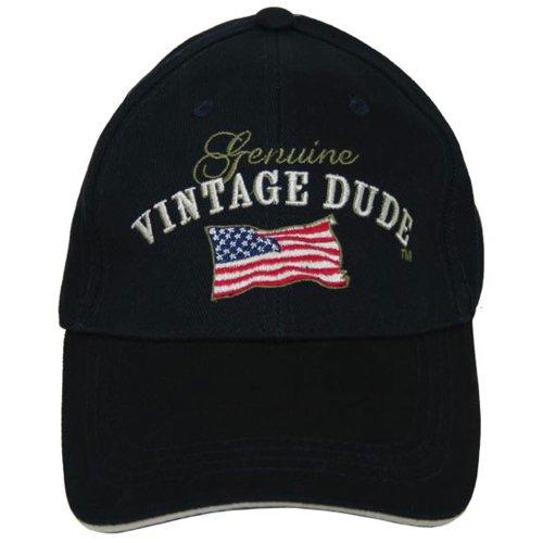 Laid Back American Flag Vintage Dude Hat, Adjustable, Blue