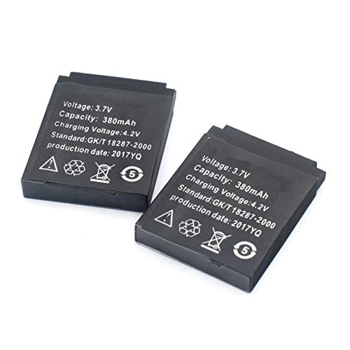 Grehod 3,7 V 380 mAh Lithium-Polymer-Akku für Smartwatch DZ09 QW09 W8 A1 V8 X6 2pcs