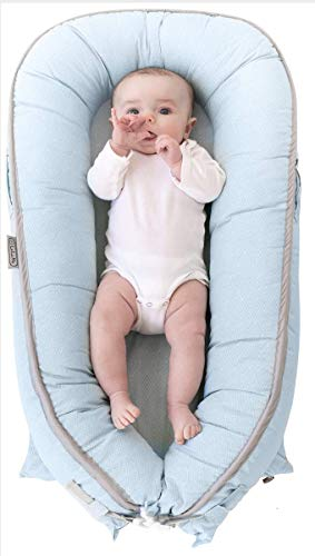 LaLaMe 100% Organic Cotton Newborn Lounger | Water-Resistant Baby Nest | for Infants, Newborns & Toddlers 0-12 Month | for Girls and Boys | (Blue)
