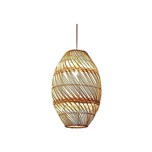 Luz colgante moderna Araña óvola única, lámpara de ratán tejida a mano natural, araña E27 ajustable en altura, 20 × 39cm Adecuado for comedor, sala de té, sala de estar y cafetería Araña Muebles para
