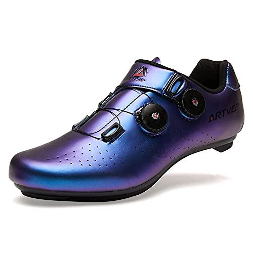 Zapatillas de Ciclismo para Hombre Zapatillas de Bicicleta de Carretera para Mujer compatibles con Look SPD SPD-SL Delta Cleats Zapatillas de Spinning para Interiores Exteriores Azul265