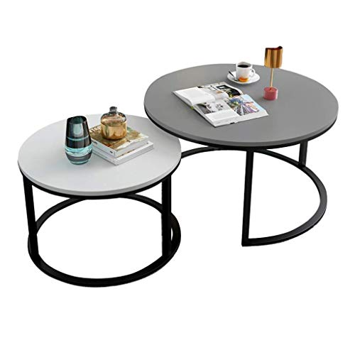 NJYT Set of 2 Nesting Coffee Tables Round Side Table Modern Wood Finishes End Table for Living Room Extensible Stackable (Size : Set of 2: 80cm+60cm)
