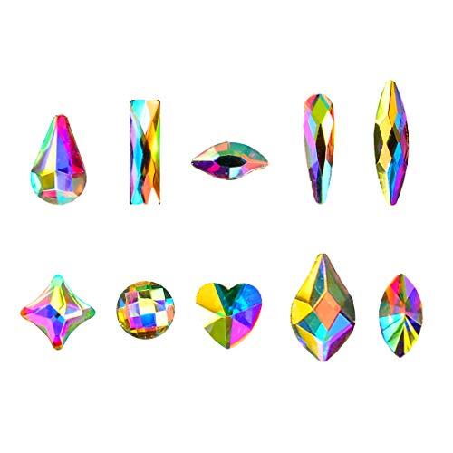 Massive Beads Mixed Flat Back Crystal Rhinestones Gems for 3D Nail Art Phone DIY (10Shapes, MIX SHAPE 2)