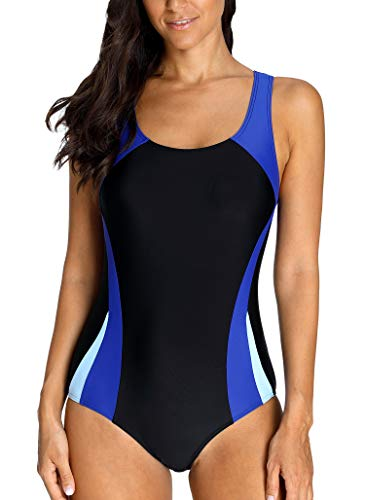 Charmo Damen Kontrastfarbe Sports Einteiler Badeanzug Schwimmanzug Racer Back Training Bademode Surfen Strandkleid M