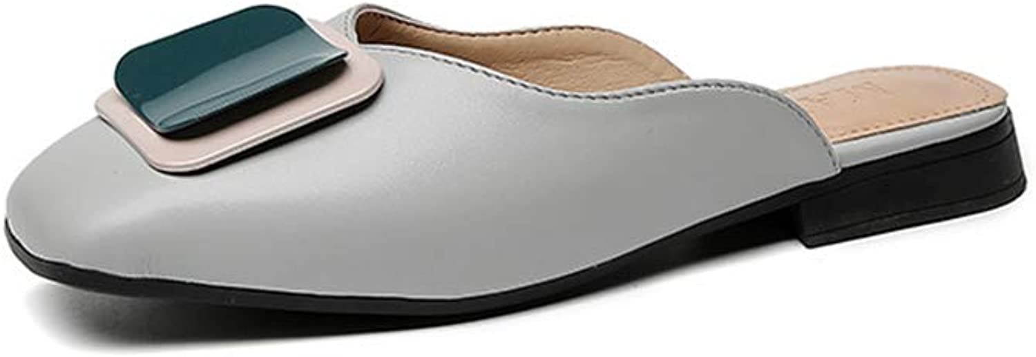 FLourishing Flat Mules for Women, Slip On Loafers Backless Pointed Toe Satin Mule Slides