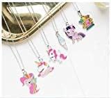 Cathercing - Set di 6 collane con ciondolo a forma di unicorno, colori arcobaleno, per donne, ragazze, bambini, regalo di compleanno regolabile