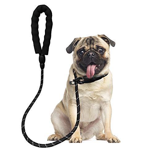 WOOFIE Retrieverleine mit Zugstopp, geflochtene Hundeleine mit integrierter Halsung, 170 cm Reflektierende Moxonleine, Trainingsleine für Hunde, Einstellbar Retriever Leinen für Kleine Mittlere