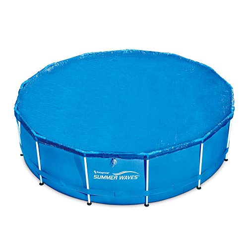636643 Summer Waves 10'-15' Adjustable Round Solar Above Ground Pool Cover Keeps Out Leaves Debris Dirt Insects Quick Set