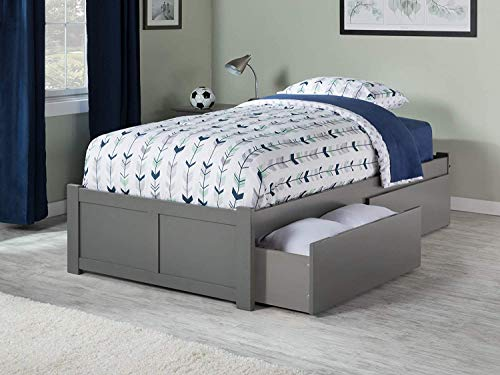 Atlantic Furniture 9 Concord Platform 2 Urban Bed Drawers, Twin XL, Grey