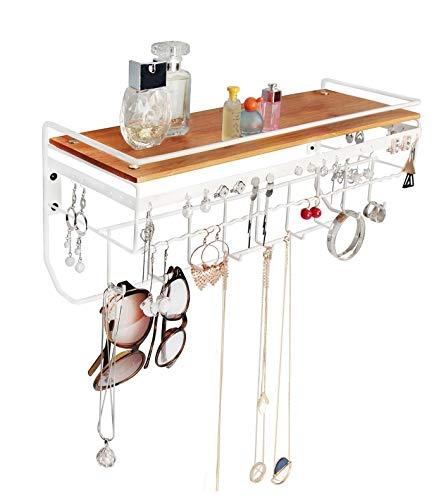 JackCubeDesign Hängender Schmuck Organizer Halskette Hanger Armbandhalter Wandhalterung Halskette Organizer mit 9 Haken und Bambus Unterstützung (Weiß, 42,9 x 14,9 x 18 cm) -: MK237B