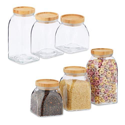 Relaxdays 6 x Vorratsglas, Größen 600, 1000, 1400 ml, Aufbewahrungsglas für Müsli, Pasta, Linsen, Bambusdeckel, transparent/Natur