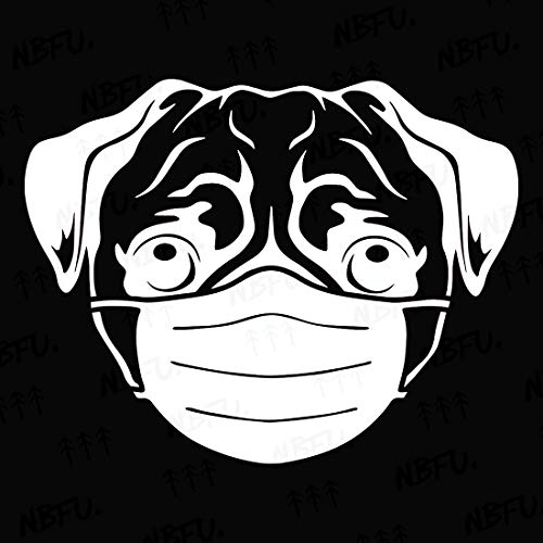 NBFU Decals Pug Cute Face Mask Protection 1 (White) (Set of 2) Premium Waterproof Vinyl Decal Stickers for Laptop Phone Accessory Helmet Car Window Bumper Mug Tuber Cup Door Wall Decoration