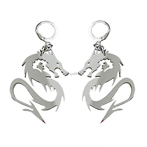 XAOQW Mujeres Hombre Brillante dragón tótem Pendientes Pendientes acrílico Gota Pendientes Animal Espejo dragón aro joyería de Moda Color Plata