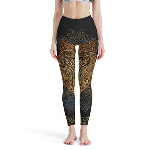 Lind88 Fashion Womens Leggings, bruin Animal Uil Mandala Pattens afdrukken Gedrukt Hoge Taille Panty Yoga Capris Gedrukt -bruin Workout Capris voor vrouwen