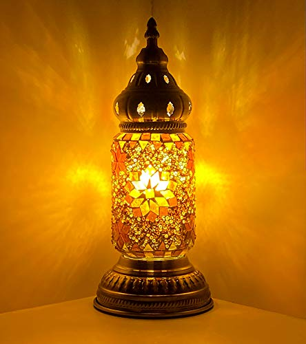 Marrakech Türkische Mini-Tischlampe, marokkanischer Tiffany-Stil, handgefertigt, Mosaik, Buntglas-Lampenschirm, Kunst-Dekor, Wohnzimmerlampe, Schreibtisch, Nachttischlampe (3)