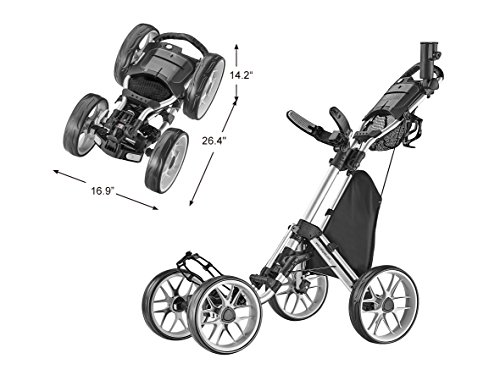CaddyTek Caddycruiser One Version 8 - One-Click Folding 4 Wheel Golf Push Cart, Silver