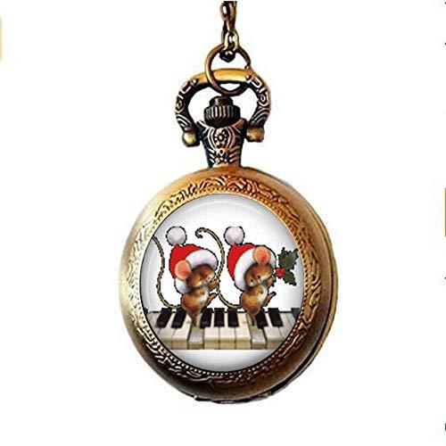 Taschenuhr, Weihnachtsmäuse auf dem Klavier, Halskette, Urlaubsschmuck, Mäuse, Kunstglas, Foto-Schmuck, personalisiertes Geschenk