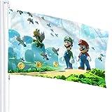 BHGYT Super Mario Flagge 3x5 FtDecorative im Freien Anti-UV-Verblassen in Innenräumen Flaggen Saisonale und Holiday Yard Flag Banner Polyester 3x5 Fuß