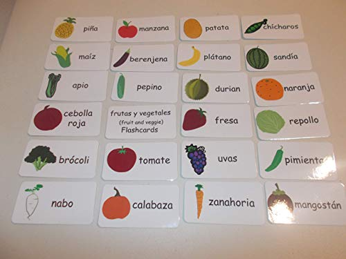 23 Spanish Fruit and Vegetable Flashcards.
