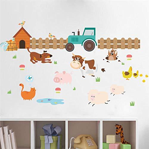 Boerderij Dieren Hond Hek Muurstickers voor Kids Kamers Home Decoratie Kids Kamer Decor muurschildering Poster Decals