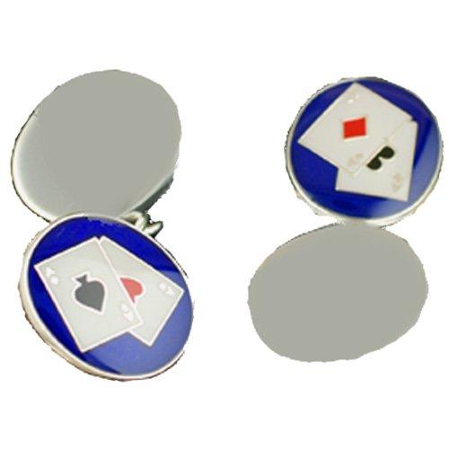 Boutons de manchette Poker Argent Fin - 925/1000 - avec chaîne