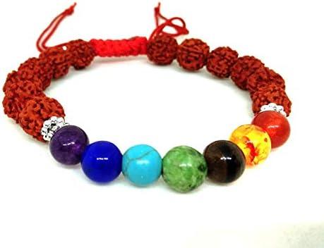 JET Energized New Rudraksh Chakra Drawstring Bracelet Students Chakra Balancing Calmness Purification product image