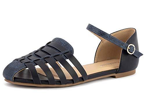 MaxMuxun Sandalias Planas con Punta Cerrada para Mujer, cómodos Zapatos Romanos de Verano Navy EU 41