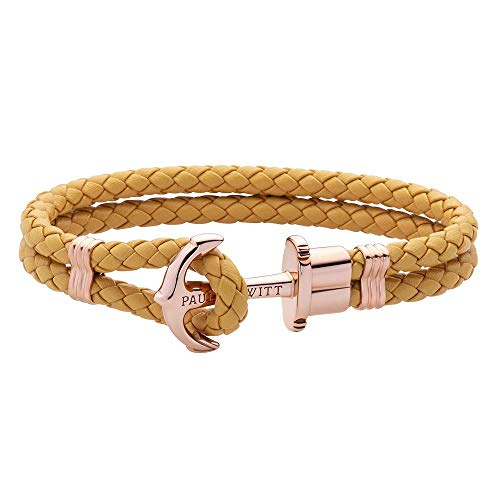 PAUL HEWITT Anker Armband Damen PHREP - Segeltau Armband Frauen, Leder Armband Damen (Canary) mit Anker Schmuck aus IP-Edelstahl (Rosegold)