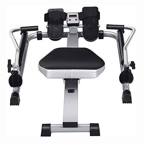 XBSLJ Rudergeräte klappbar Rudergerät, Rudergerät mit HD-Zifferblatt und 12-stufigem einstellbarem Widerstand, rutschfestes Pedaldesign, sicher, für das Büro geeignet, Balkon