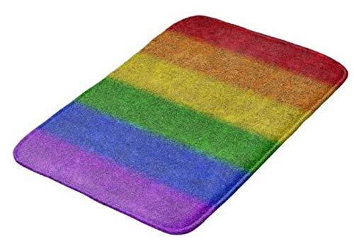 Falln Rainbow Glitter Gradient Alfombrilla decorativa para baño, Alfombra de ducha Alfombra absorbente de agua de secado rápido Cocina, dormitorio, hotel, bañera de hidromasaje con respaldo an