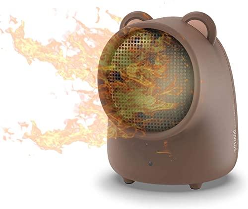 LLRZ Riscaldatore Riscaldatori elettrici da 500W Portatili Mini Space Steckers Office Desktop Air Heater PTC.Ventola in Ceramica Scaldatore a Mano for la Famiglia Termoventilatore (Color : Brown)