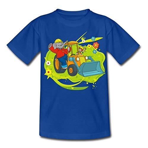 Benjamin Blümchen Mit Schaufelbagger Kinder T-Shirt, 98-104, Royalblau